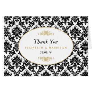 El boda negro y blanco del oro del vintage del tarjeta pequeña
