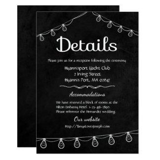 El boda negro y blanco detalla luces de la pizarra invitación 11,4 x 15,8 cm