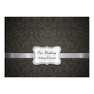 El boda negro y gris elegante del damasco invita anuncios personalizados