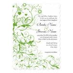 El boda negro y verde del remolino del pájaro invitacion personalizada