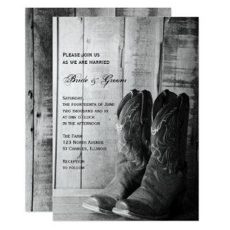El boda occidental de vaquero del país rústico de invitación 12,7 x 17,8 cm