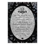 El boda oval del gótico del damasco negro de lujo