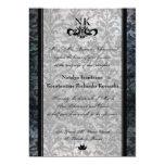 El boda oval del gótico del damasco negro de lujo invitación 12,7 x 17,8 cm