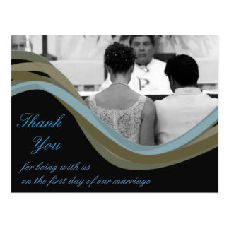 El boda personalizado de la foto le agradece las postal