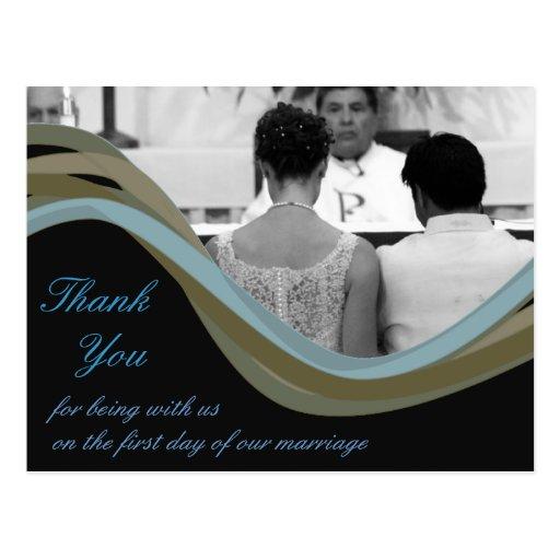 El boda personalizado de la foto le agradece las t tarjeta postal