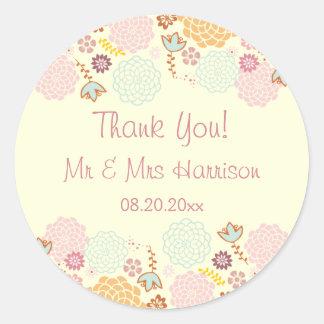 El boda personalizado le agradece floral moderno pegatina redonda