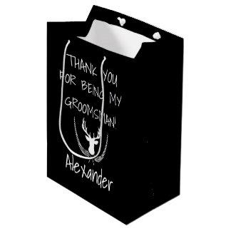 El boda personalizado los padrinos de boda le bolsa de regalo mediana