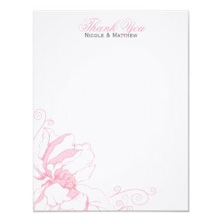 El boda plano floral delicado le agradece las invitación 10,8 x 13,9 cm