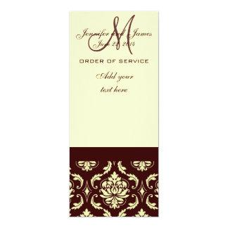 El boda programa el damasco poner crema de Brown Invitación 10,1 X 23,5 Cm