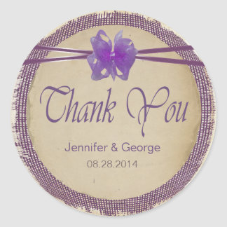 El boda púrpura de la arpillera le agradece PBSF Pegatina Redonda