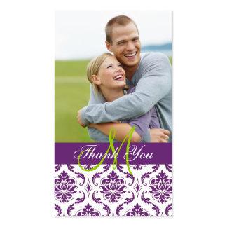 El boda púrpura de la foto del damasco le agradece tarjetas de visita