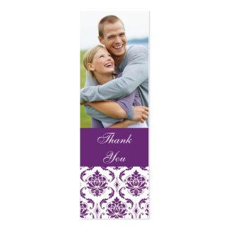 El boda púrpura de la foto del damasco le agradece plantilla de tarjeta de visita