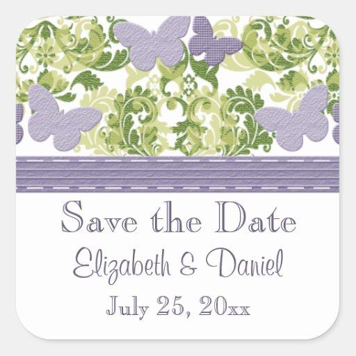 El boda púrpura de la mariposa sella a los colcomanias cuadradass