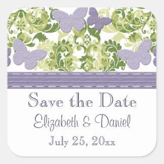 El boda púrpura de la mariposa sella a los pegatina cuadrada