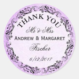 El boda púrpura le agradece los pegatinas pegatina redonda