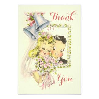 El boda retro caprichoso de novia y del novio le invitación 8,9 x 12,7 cm