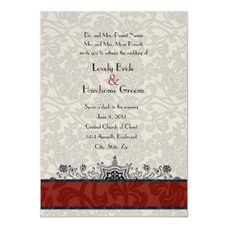 El boda rojo de la torre Eiffel del damasco de Invitación 12,7 X 17,8 Cm