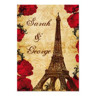 el boda rojo de París de la torre Eiffel del Invitación 12,7 X 17,8 Cm
