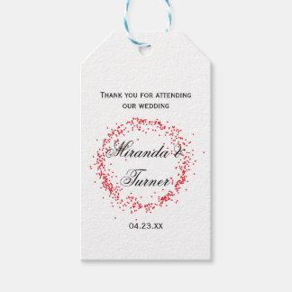 El boda rojo del confeti le agradece - etiqueta etiquetas para regalos