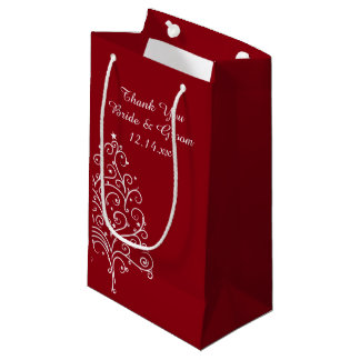 El boda rojo del invierno del árbol de navidad le bolsa de regalo pequeña
