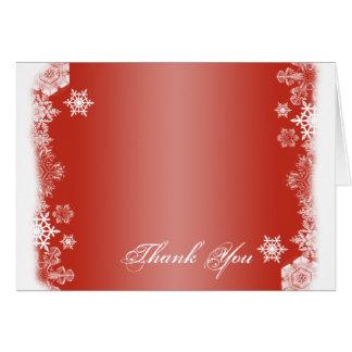 El boda rojo y blanco del copo de nieve le tarjeta pequeña