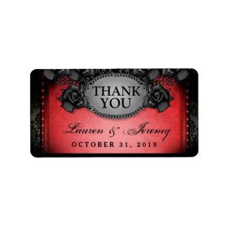 El boda rojo y negro de Halloween le agradece las Etiquetas De Dirección