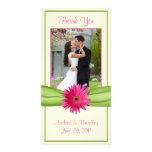 El boda rosado de la margarita del Gerbera le agra Tarjetas Personales Con Fotos