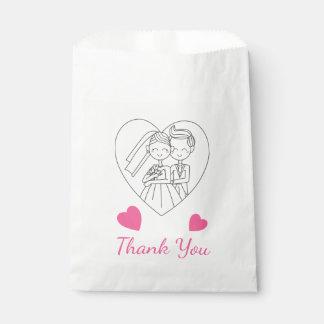 El boda rosado le agradece corazón de la novia y bolsa de papel