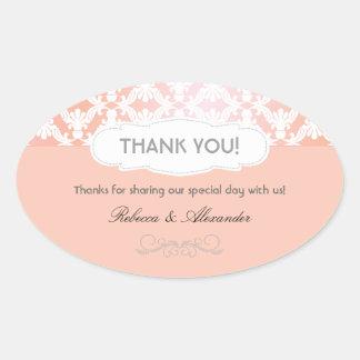 El boda rosado y coralino del damasco le agradece pegatinas