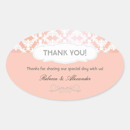 El boda rosado y coralino del damasco le agradece pegatina ovaladas personalizadas
