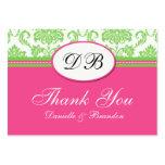El boda rosado y verde le agradece tarjetas de visita
