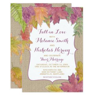 El boda rústico de la caída de la hoja del otoño invitación 12,7 x 17,8 cm