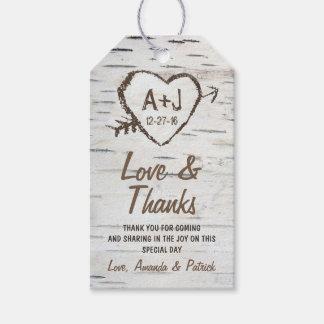 El boda rústico de la corteza de árbol de abedul etiquetas para regalos