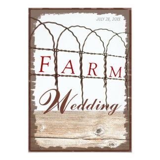El boda rústico de la granja de madera y de la invitación 12,7 x 17,8 cm