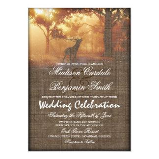 El boda rústico de la impresión de la arpillera invitación 12,7 x 17,8 cm