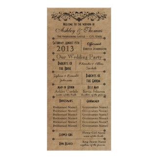 El boda rústico de la tipografía programa a 6 folleto publicitario 10 x 22,8 cm