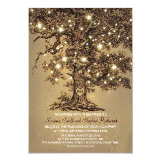 El boda rústico del árbol de las luces de la invitación 12,7 x 17,8 cm