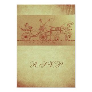 El boda rústico del caballo y del carro de RSVP Anuncio