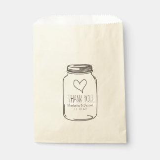 El boda rústico del corazón del tarro de albañil bolsa de papel