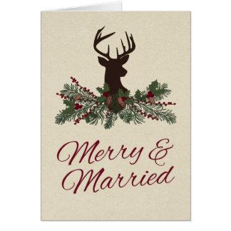 El boda rústico del pino de las vacaciones de tarjeta