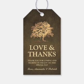 El boda rústico del roble del oro del vintage le etiquetas para regalos