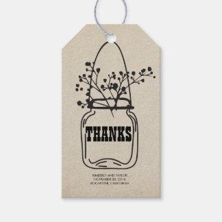 El boda rústico del tarro de albañil del país le etiquetas para regalos