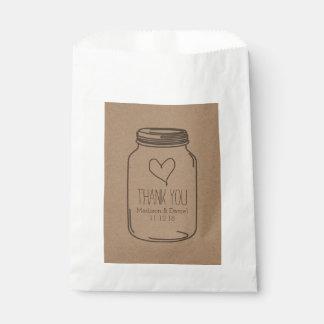 El boda rústico del tarro de albañil del papel de bolsa de papel