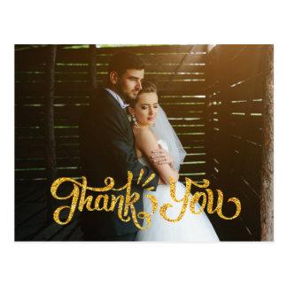 El boda rústico le agradece oro de Photocard de Postal