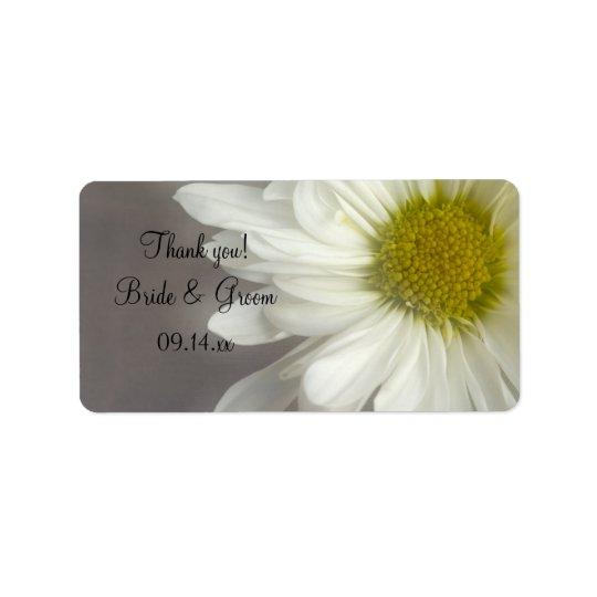 El boda suave de la margarita blanca le agradece etiquetas de dirección