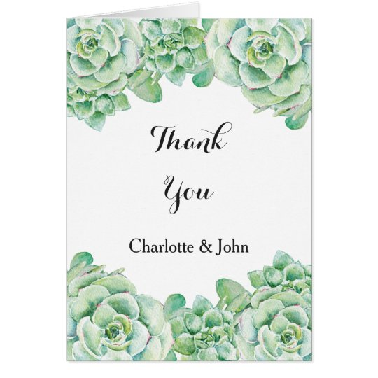 el boda suculento de la acuarela le agradece tarjeta de felicitación