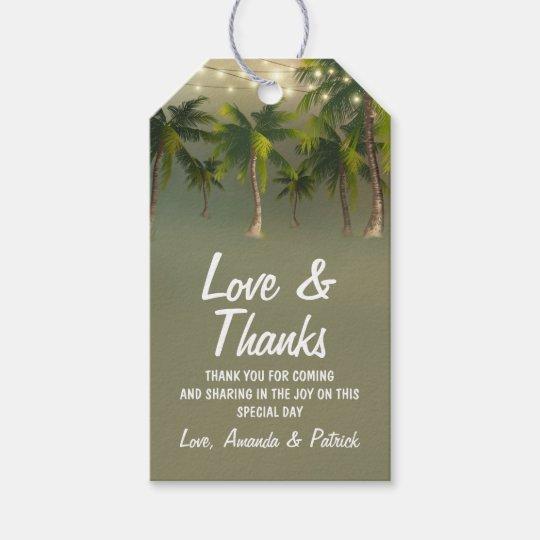 El boda tropical de la palmera de las luces de la etiquetas para regalos