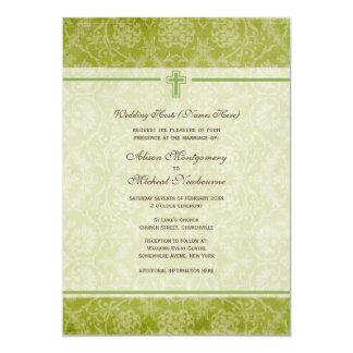 El boda verde de la iglesia cristiana del damasco invitación 12,7 x 17,8 cm