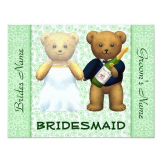El boda verde de los osos de peluche de la dama de invitación 10,8 x 13,9 cm