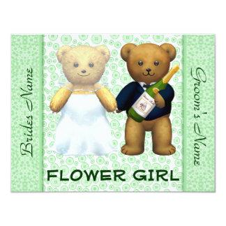 El boda verde de los osos de peluche del florista invitación 10,8 x 13,9 cm